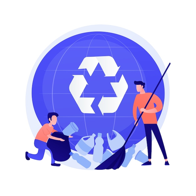 Plastic trash sorting. recycling and reusing idea. man gathering plastic bottles Free Vector