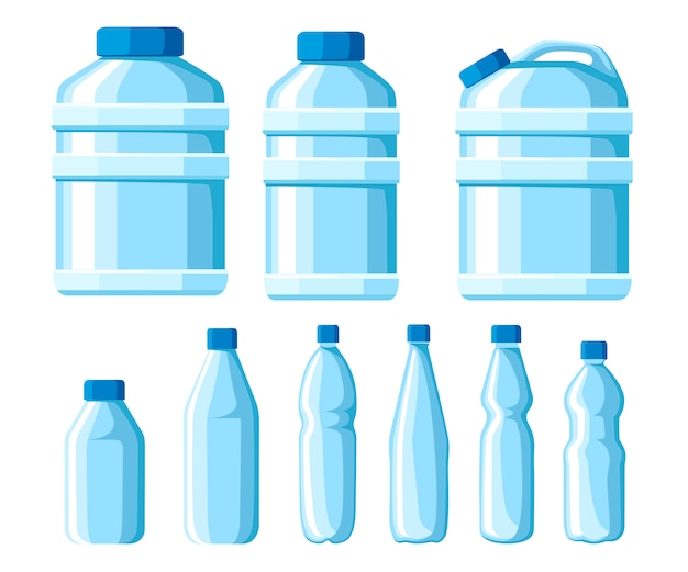Набор пластиковых бутылок с водой. иллюстрация здоровых бутылок agua. чистый напиток в пластиковом контейнере. шаблоны для бутылок с водой. векторная иллюстрация на белом фоне Premium векторы