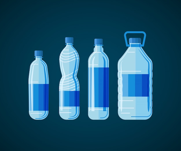 Plastic water bottle set isolated on white background. Premium Vector