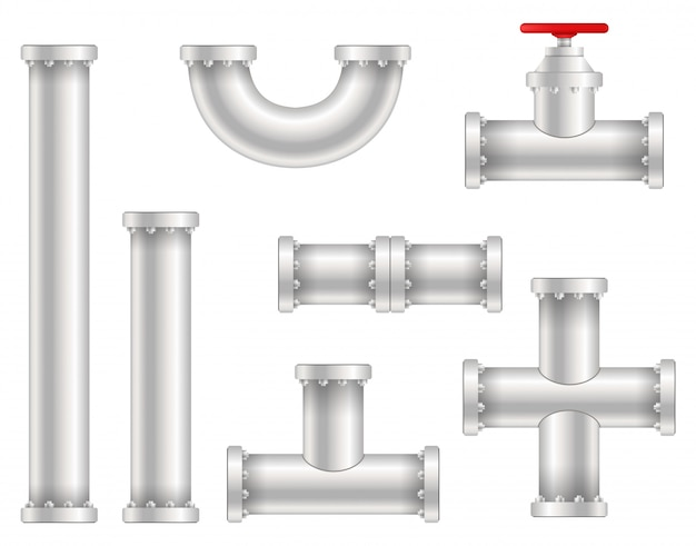 Plastic water, oil, gas pipeline, pipes sewage. Premium Vector