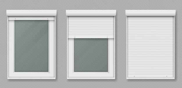 Пластиковое окно с белой рольставней Бесплатные векторы