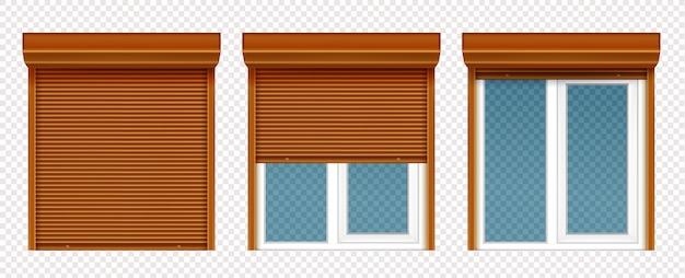 木製ローリングシャッター付きのプラスチック製の窓 無料ベクター