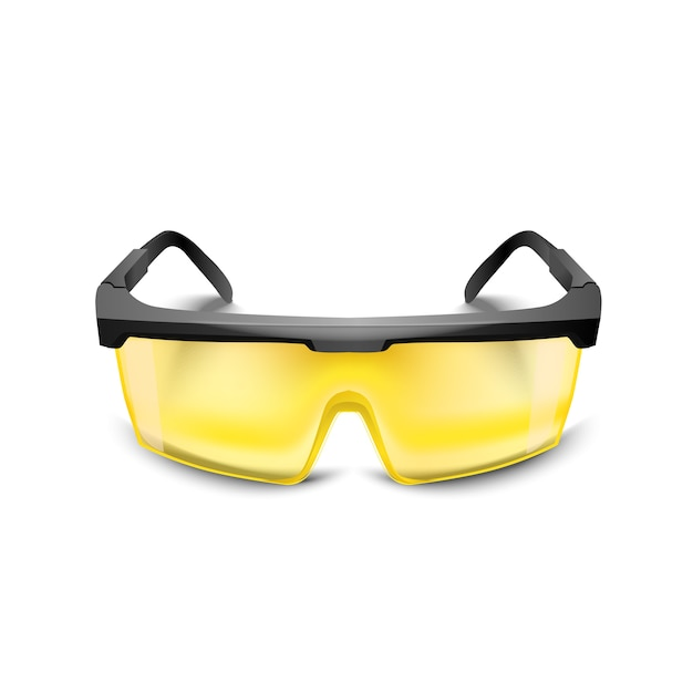 Plastic yellow safety glasses on white background. working goggles eye protection gear for construction, medicine and sports Premium Vector
