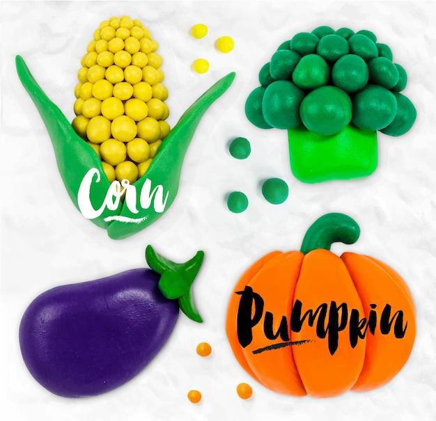 Plasticine modeling vegetables Premium Vector