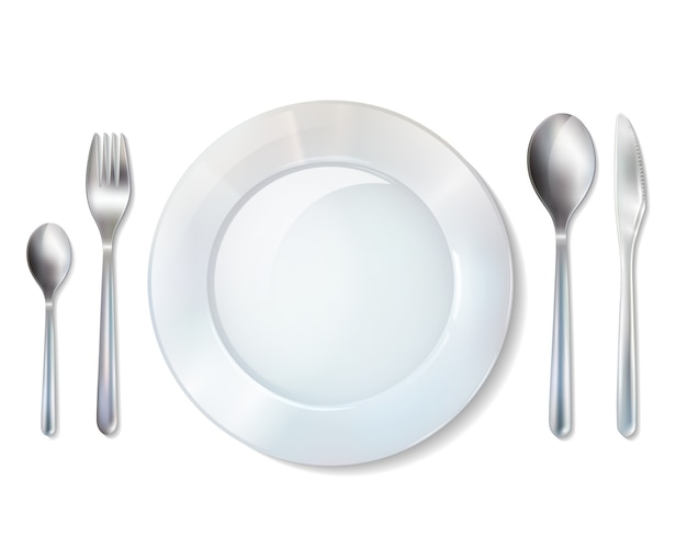 Plate and cutlery realistic set image Free Vector