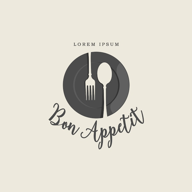 Plate fork and spoon vintage logo Premium Vector