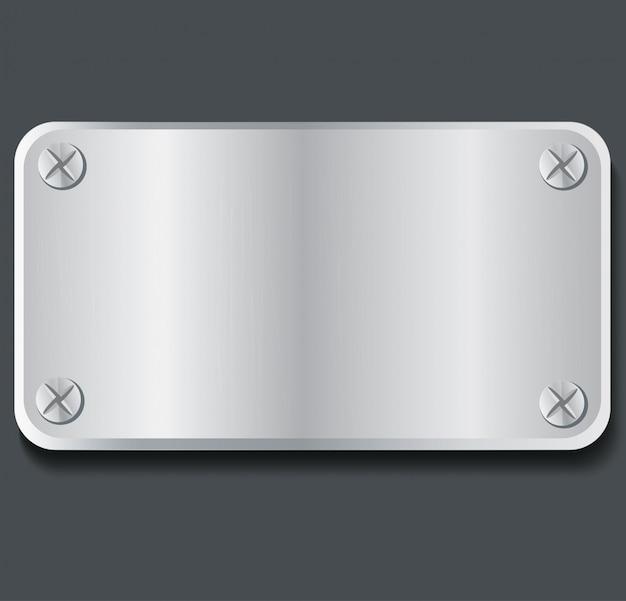 Plate metal banner background Premium Vector