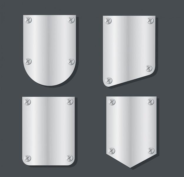 Plate metal banner set vector Premium Vector