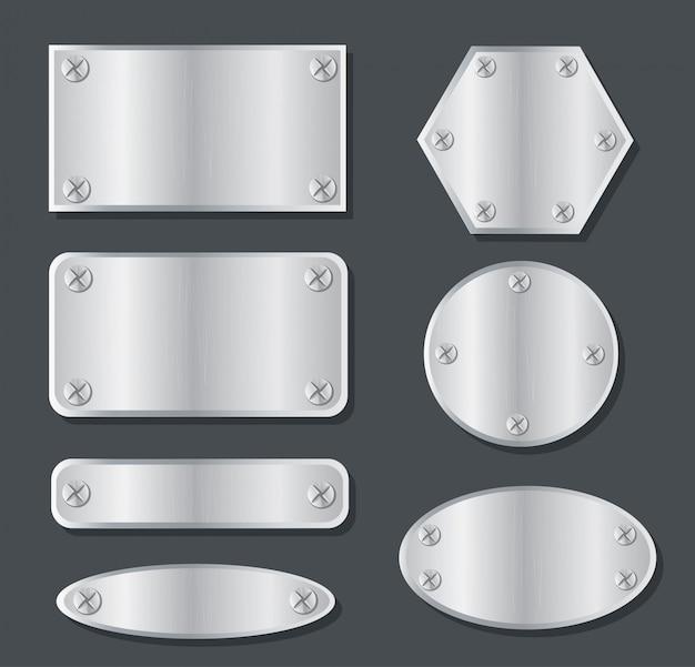 Plate metal banner set Premium Vector