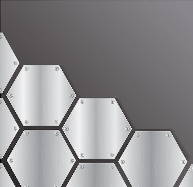 Plate metal hexagon background vector Premium Vector