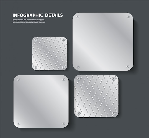Plate metal and space Premium Vector