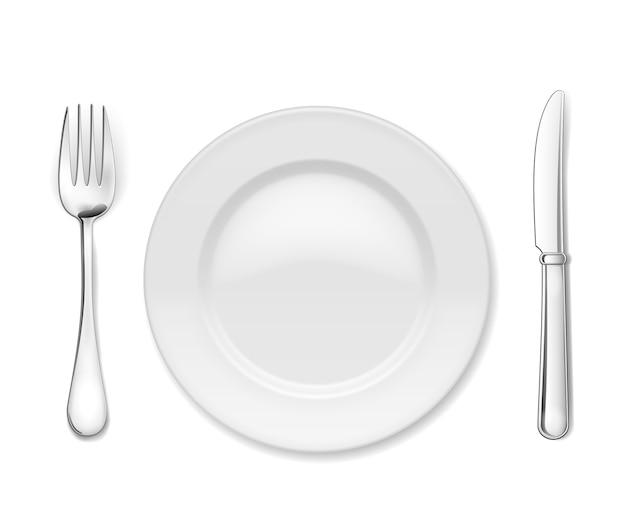 Тарелка со столовыми приборами Бесплатные векторы