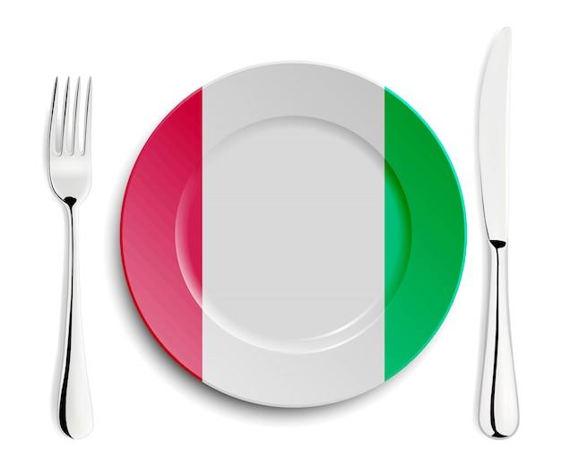 Тарелка с флагом италии Premium векторы