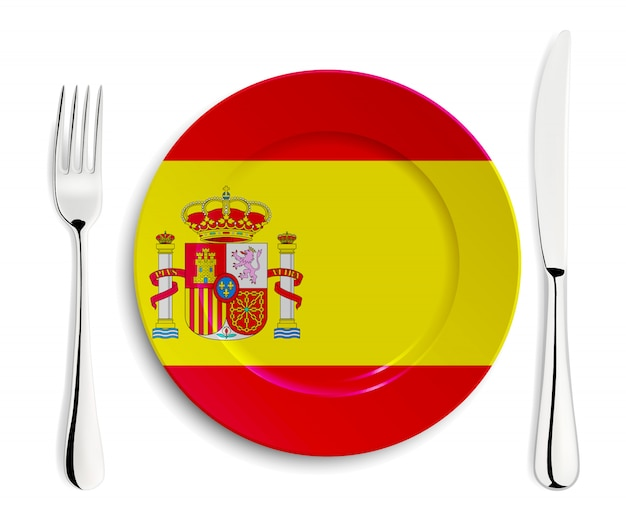 Тарелка с флагом испании Premium векторы