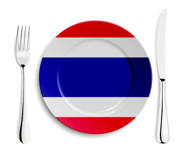 Тарелка с флагом таиланда Premium векторы