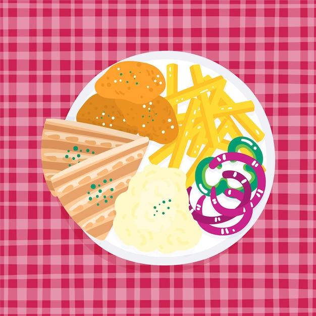 Тарелка с картофелем фри и бутерброды Бесплатные векторы