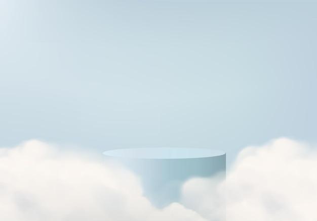 연단과 최소한의 구름 빛 장면 플랫폼이있는 플랫폼 3d 블루 렌더링 프리미엄 벡터