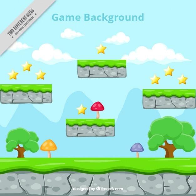 Platform game, background Free Vector
