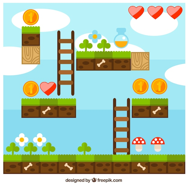Platform video game scene Free Vector
