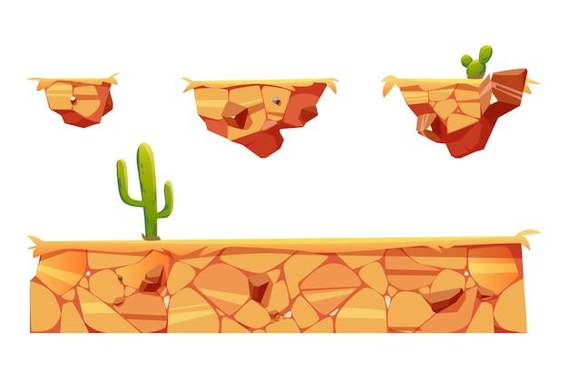 Платформы с пустынным ландшафтом и кактусами для интерфейса игрового уровня Бесплатные векторы
