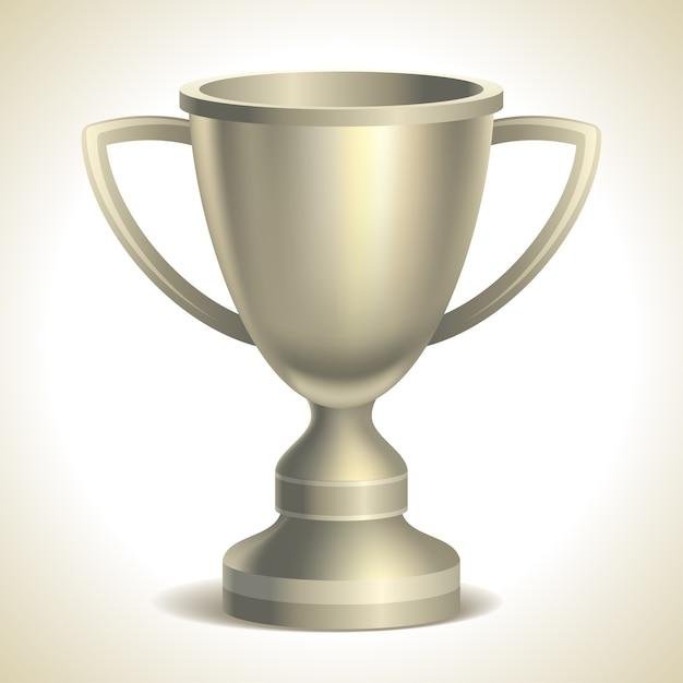 Platinum trophy cup,  on white background,  illustration Premium Vector