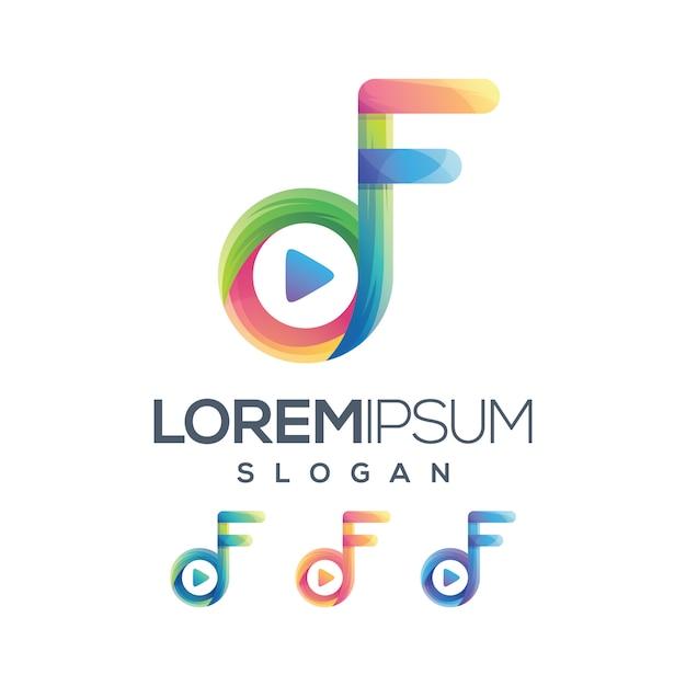 Play f логотип градиентная коллекция Premium векторы