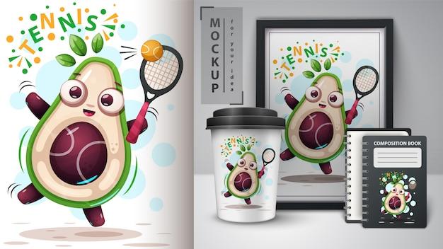 Play game avocado and merchandising Premium Vector