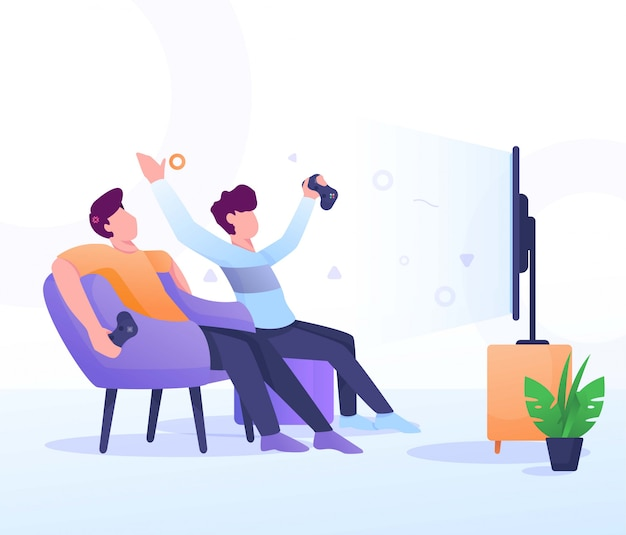 Play game with friend Premium Vector
