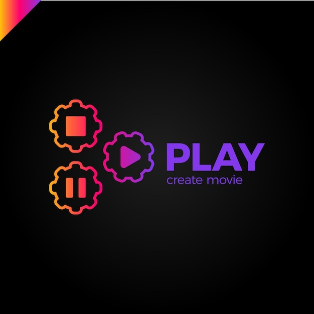 Play icon with video gear logo Premium Vector