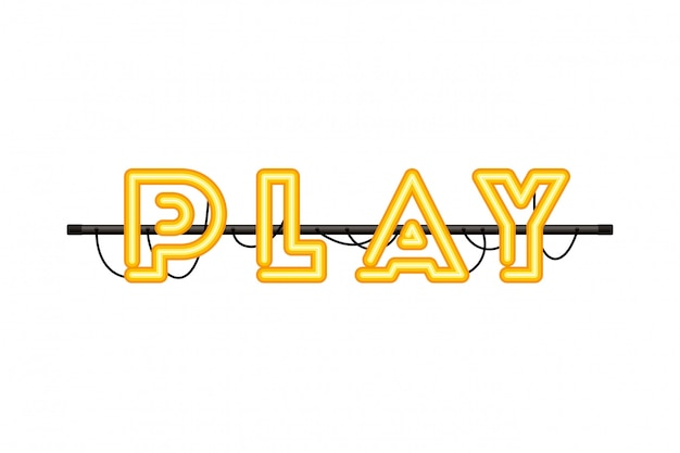 Play label in neon light icon Premium Vector