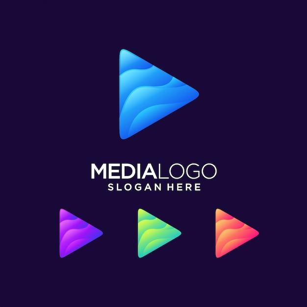Play logo media next click Premium Vector