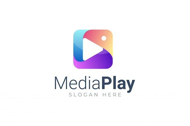 Play media button symbol logo Premium Vector