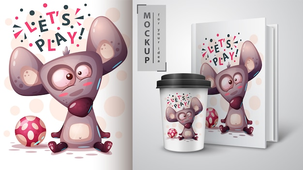 Play mouse, rat and merchandising Premium Vector