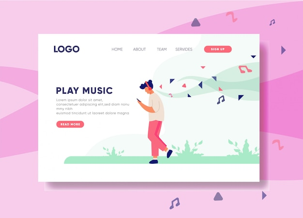 Play music illustration for landing page template Premium Vector