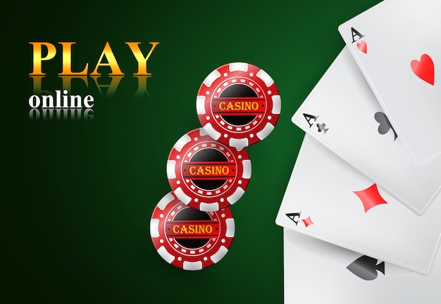 Play online lettering, four aces and casino chips. casino business advertising Free Vector