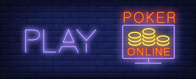 Play poker online in neon style. text, screen and chips on brick wall background Free Vector