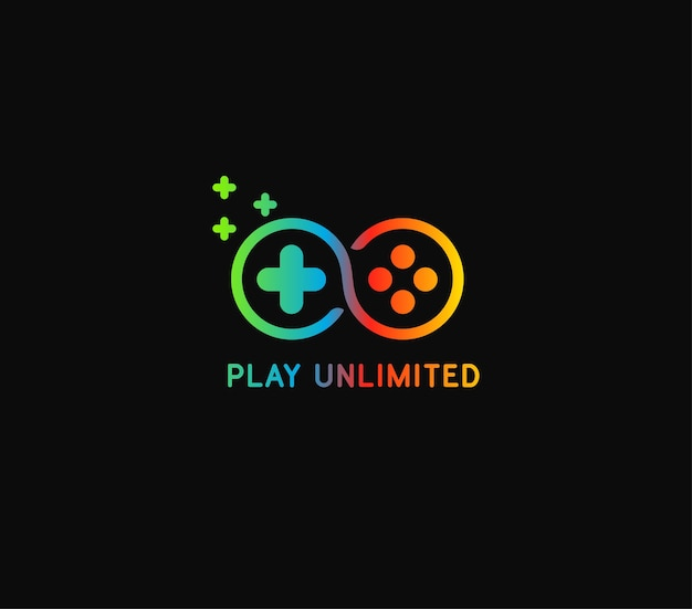 Play unlimited logo with 3 color gradient Premium Vector