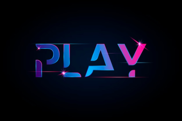 Play vibrant gradient typography Free Vector