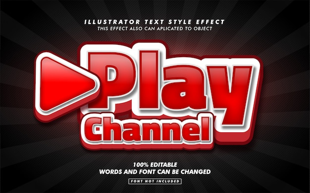 Play video text style effect mockup Premium Vector