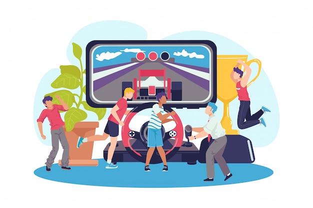 Играть с концепцией контроллера, иллюстрацией. игровые люди на компьютерном фоне, консольный игрок. компьютерные аркады и веб-игры, геймпады и джойстики. Premium векторы
