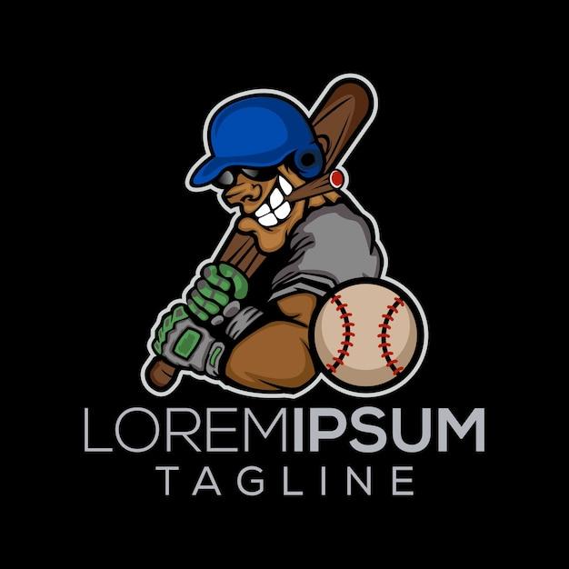 Player of baseball logo Premium Vector