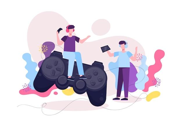 Персонажи игроков и концепция онлайн-игр Бесплатные векторы