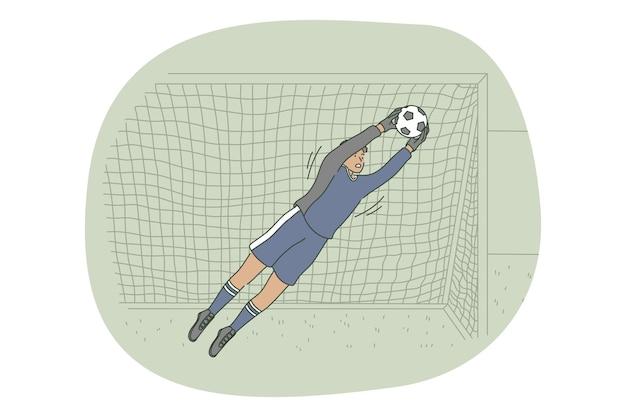 トレーニングやゲーム中にフィールドでボールをキャッチするプレーヤーのゴールキーパー Premiumベクター