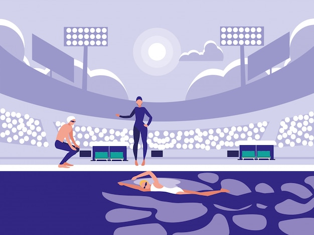 Players in pool for diving competition Premium Vector