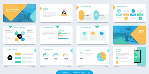 Playful business presentation template Premium Vector