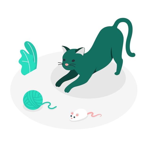 Playful cat concept illustration Free Vector