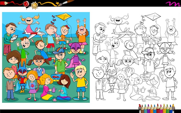 Playful children characters coloring book Premium Vector