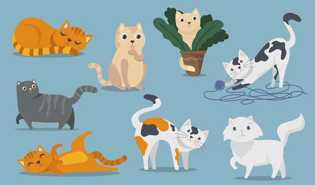 遊び心のあるキュートな猫フラットアイテムセット。漫画のふわふわ子猫、子猫、ぶち猫、座って、遊んで、嘘をついて、眠っている孤立したベクトルイラストコレクション。ペットと動物のコンセプト 無料ベクター