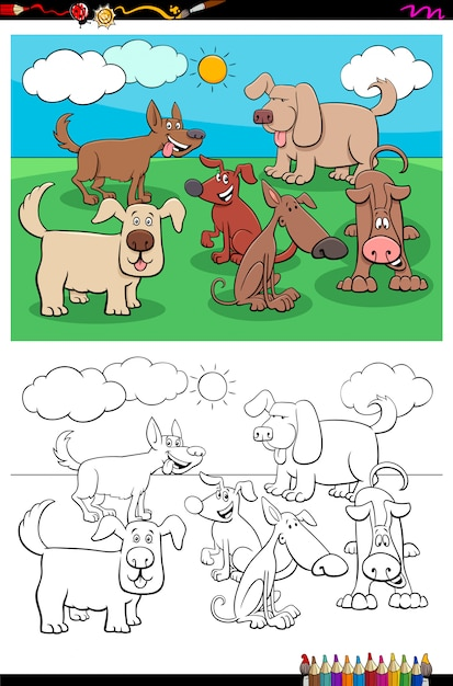 Playful dogs animal characters group color book Premium Vector