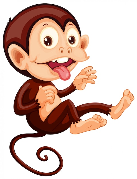 A playful monkey character Free Vector